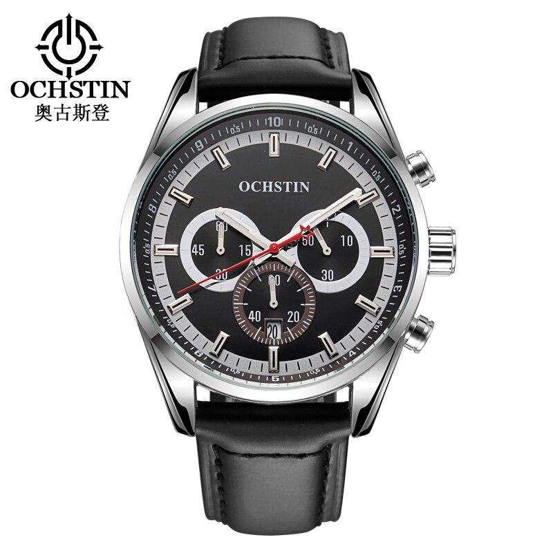 Prix pour Sport Montre pour Hommes Chronographe Multifonction Horloge Hommes Montre-Bracelet En Cuir Montre Homme Horloges Mannen Étanche Sport Montre