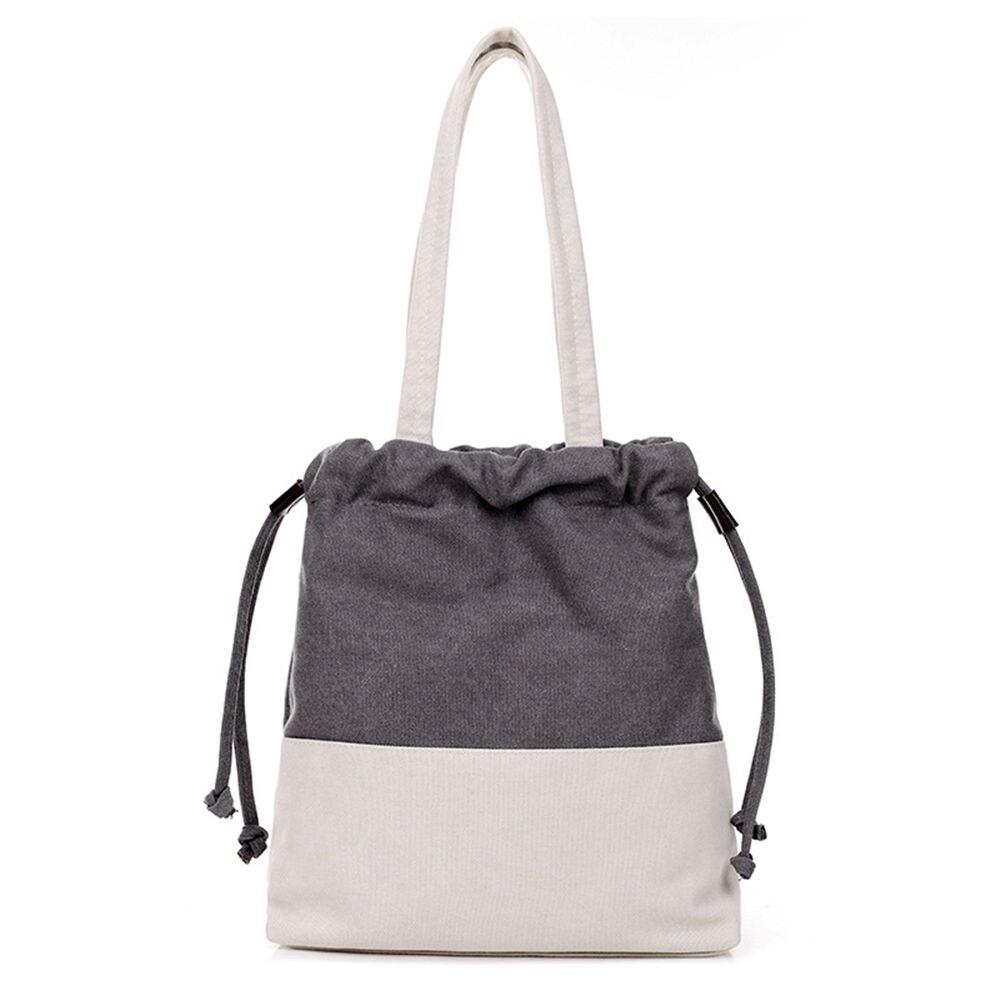 ФОТО Korean Simple Style Women Color Patchwork Canvas Shoulder Bag Lady Vintage String off Handbag for Travel Shopping School K849