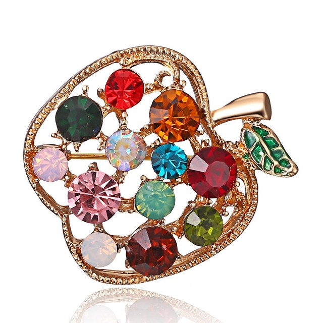 Full Rhinestone fruit Apple Brooches For Women Shinnig Summer Brooch Pin Dress Coat Hat Broches Luxury Bijouterie Jewelry