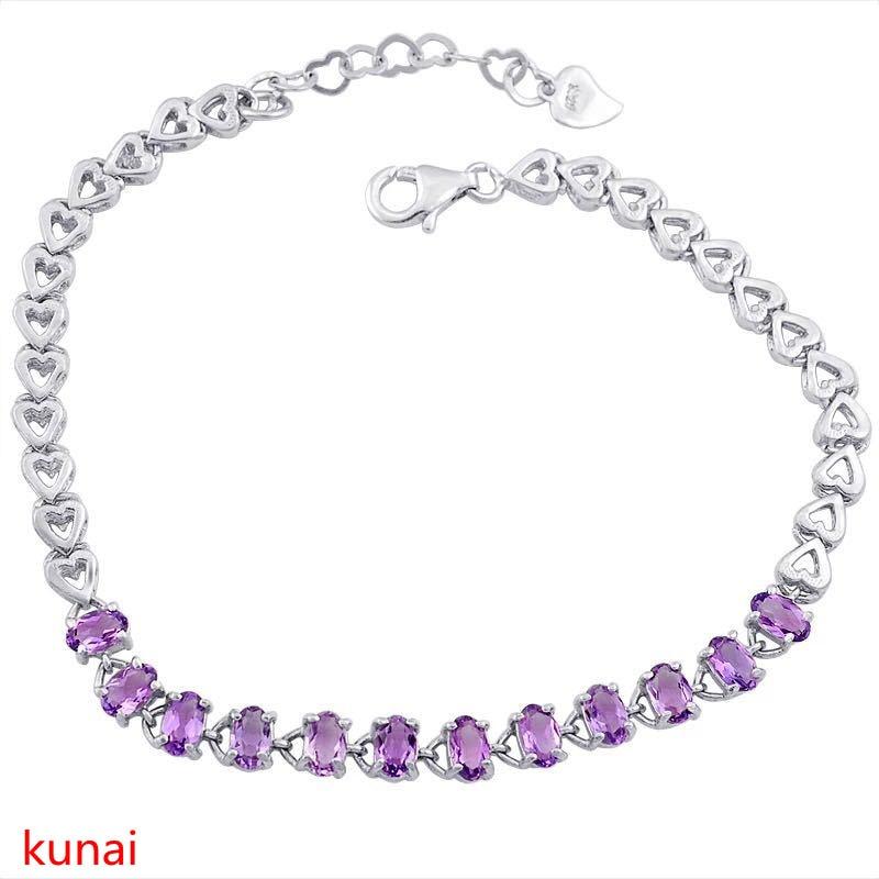 KJJEAXCMY fine bijoux 925 argent avec améthyste bracelet.
