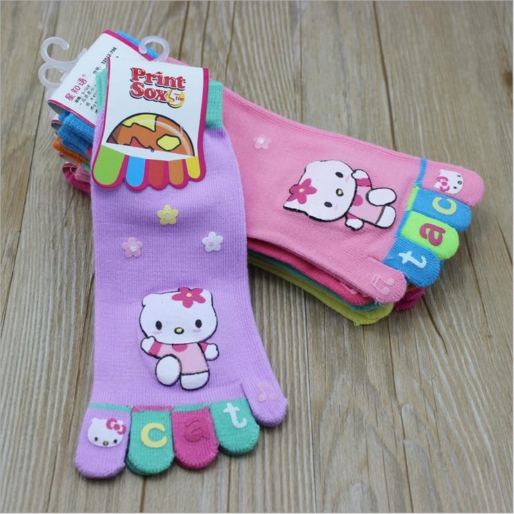 91ece94c7 Hello Kitty Kids Five Fingers Socks Rabbit Girls Boys Socks Little Kids Toe  Socks Children Toes Socks 6 Pairs/Set 3 8 years old-in Socks from Mother &  Kids ...
