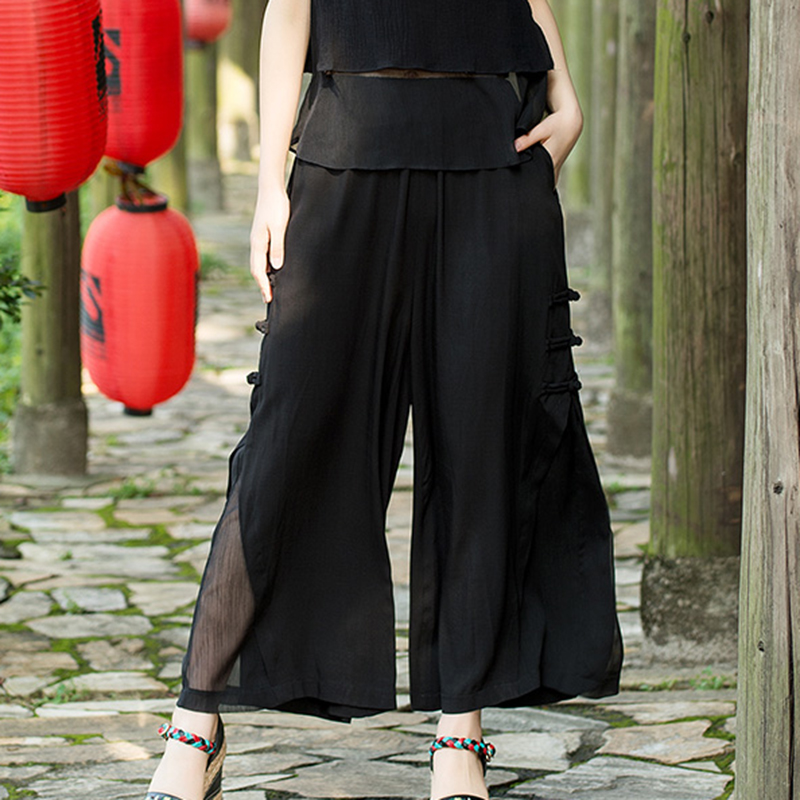 Hight Waist Trousers Loose Chiffon   Wide     Leg     Pants   Women Summer Casual Plus Size Pantalon Femme RE2363