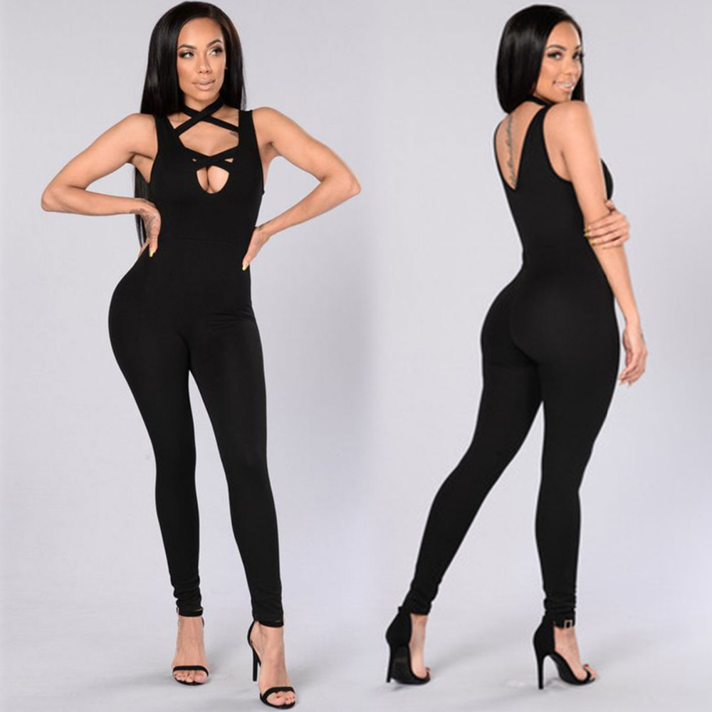 jocelyn katrina brand summer womens jumpsuits sexy long pant halter sleeveless jumpsuit fitness romper bodysuits jumpsuits