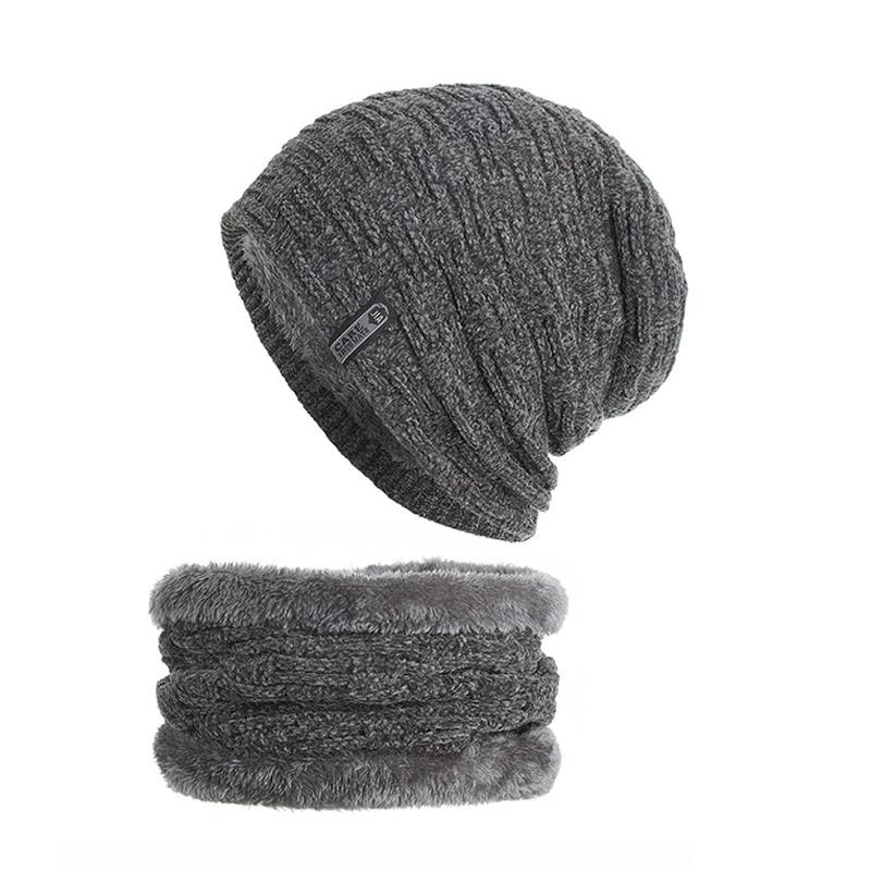 Knitted Hat Scarf-Set Bonnet Lining Skullies Inside-Fleece Chenille Women Warm Thick