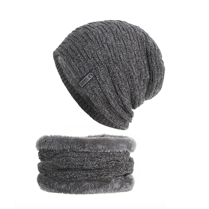 Chenille Knitted Hat Scarf Set Inside Fleece Lining Thick Warm Knit   beanies   Winter Hats For Men Women Cap   Skullies   bonnet