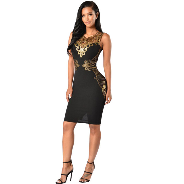 Elegant Sequined Dresses Party Black Gold Sleeveless Bodycon Dress Summer Night  Club Sexy Midi Dresses Vestido 16d71408c7b2