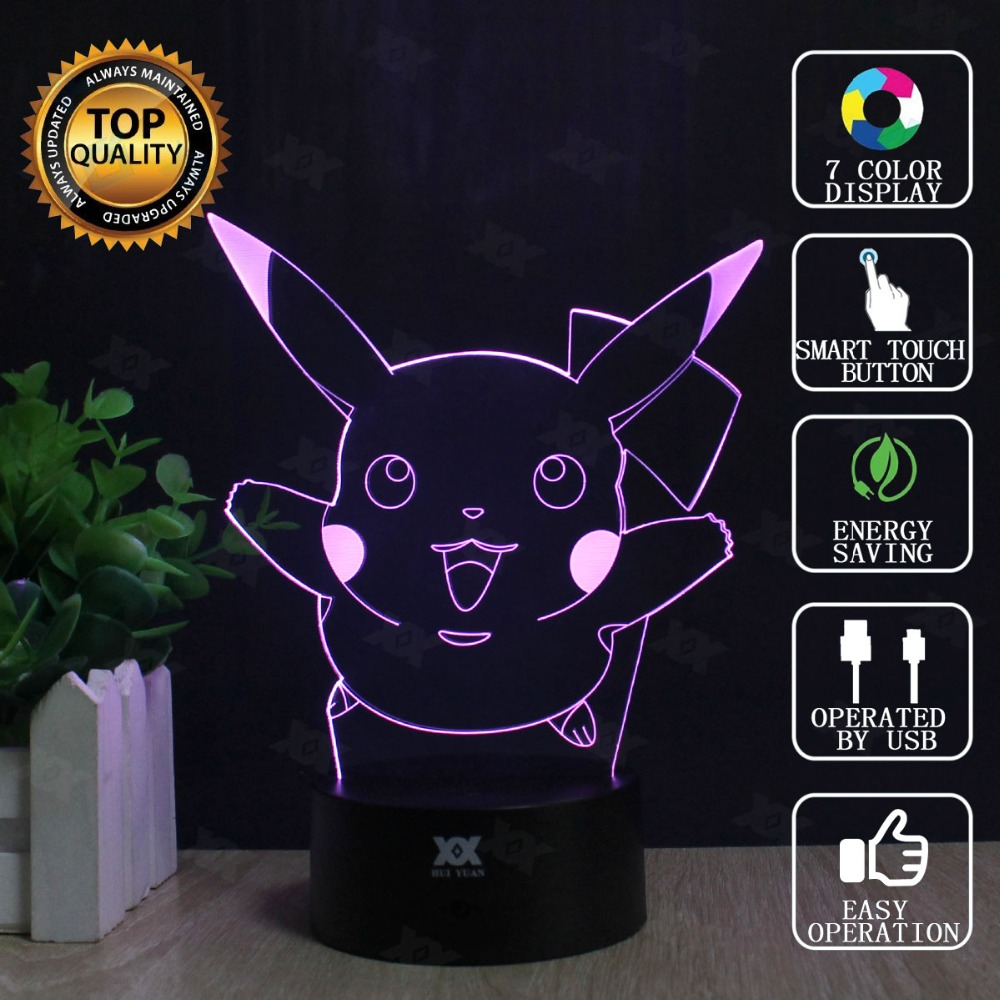 Pokemon Go 3D Lamp Charmander Charizard Eevee LED Decorative Table Lamp USB Novelty Night Lights Child's Gift HUI YUAN Brand lno 217pcs charizard pokemon building block
