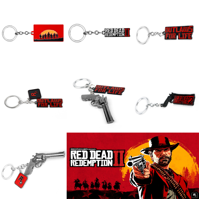 Game Red Dead Redemption 2 Keychain Rockstar Gun Cosplay Pendant Keyrings Men Car Bags Chaveiros Jewelry