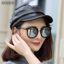 SILOQIN Unisex Genuine Leather Hat Winter Couple Sheepskin Cap Military Hats 2019 New Style Elegant Flat Caps For Men And Women