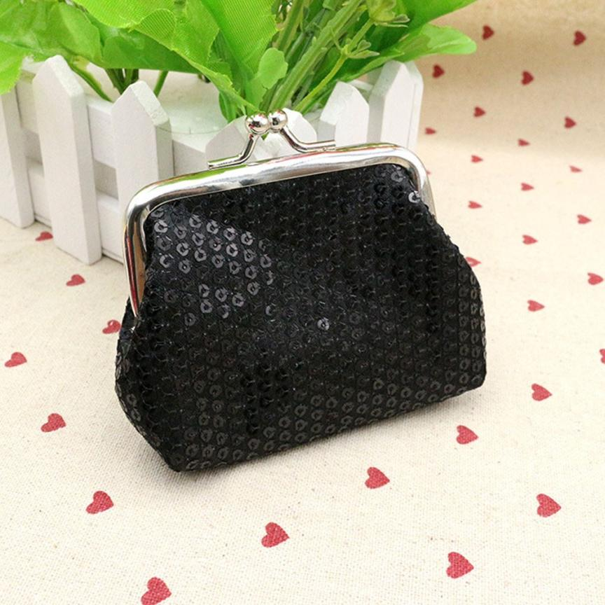 Women Lady Sequin Small Coin Purse Retro Vintage Polyester Hasp Wallet Bag Change Pouch Clutch Handbag Dropshipping Wholesale ND