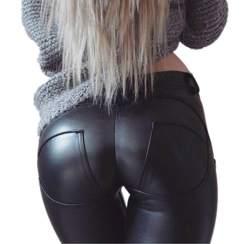 2019  Women PU Leather Low Waist Leggings Female Sexy Hip Push Up Pants Legging Jegging Leggins Jeggings Sport For Fitness