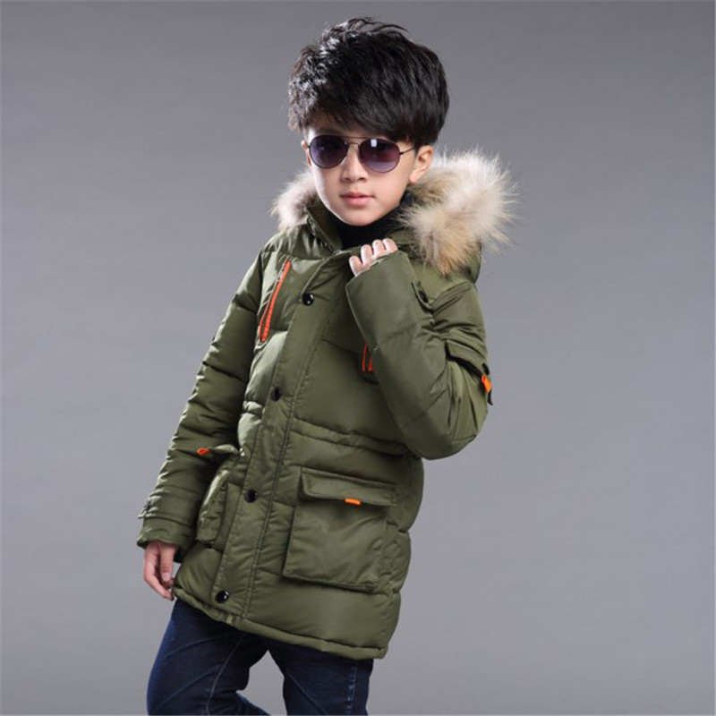 2017 New Boys Winter Thick Warm Coat Kids School Outdoor Fur Hooded Casual Jacket Kid Snow Outerwear Down Winter Coats Clothes 2017 new baby girls boys winter coats jacket children down outerwear warm thick outdoor kids fur collar snow proof coat parkas