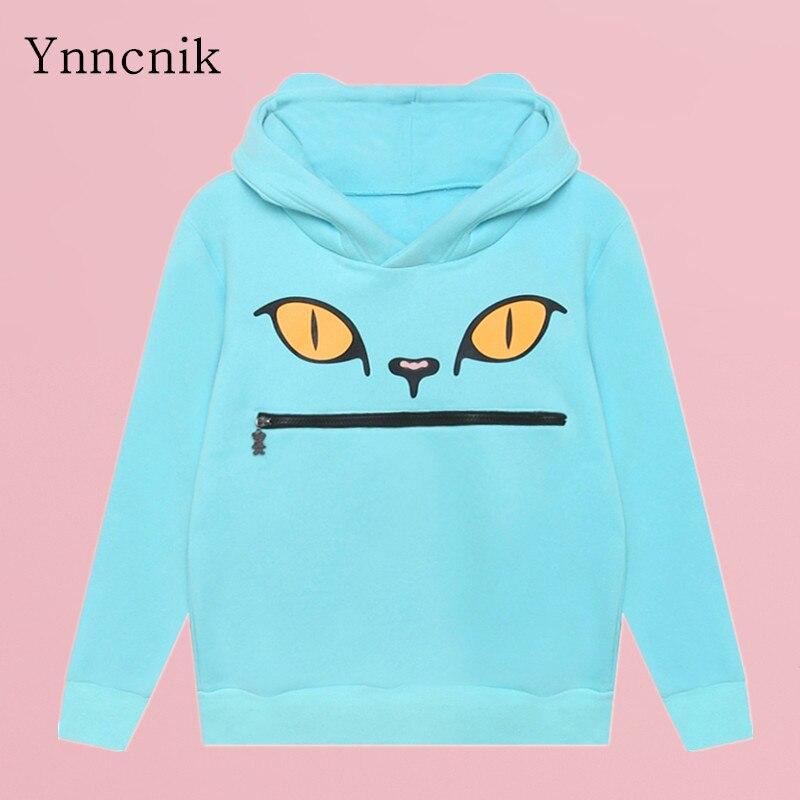 Ynncnik 2018 nouveaux Sweatshirts pour femmes chat imprimé Zip bouche sweat à capuche épais Fleeces hiver survêtements sweats à capuche chauds S1193