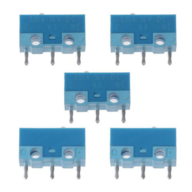 HUANO Micro interrupteur de souris, 5 pièces, coque blanche et bleue, 0,74n, Contacts en alliage dargent, 20 Millions de vie