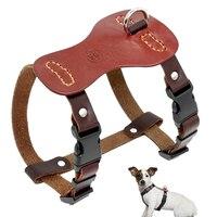 Ручной работы Пояса из натуральной кожи собаки жгут Регулируемый для маленький средний Товары для собак питбуль боксер коричневый груди ...