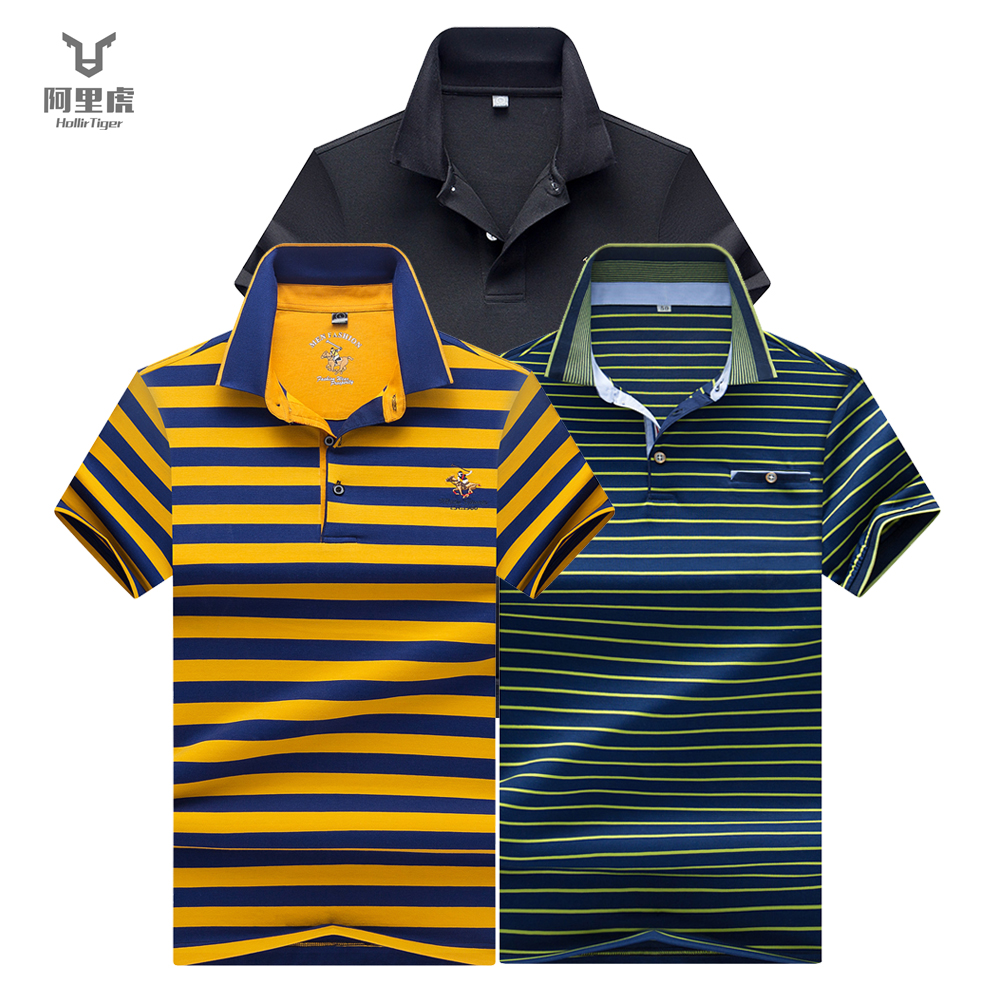 Hollirtiger 2019 Masculina   Polo   Men Shirts dry fit Cotton XXXL Brands Mens Collar   Polos   Tops Men Clothes with Short Sleeve