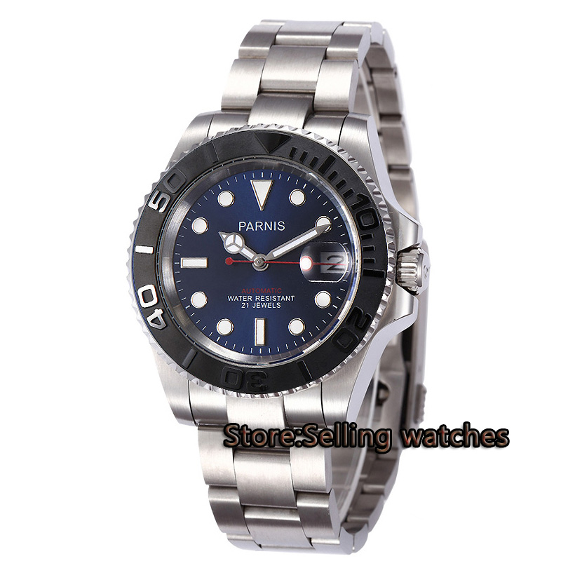 40mm Parnis blue dial luminous Sapphire glass ceramic bezel MIYOTA Automatic movement Mens watch
