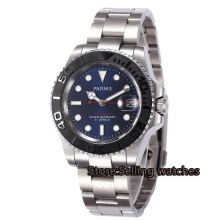40mm Parnis blue dial luminous Sapphire glass ceramic bezel MIYOTA Automatic movement Mens watch
