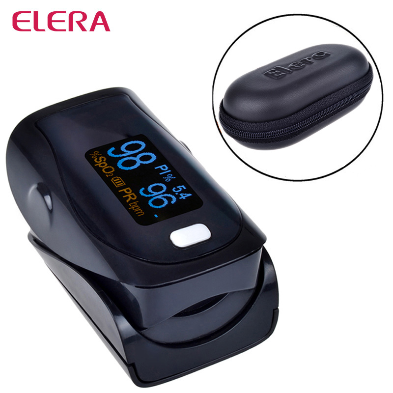 Newest!! Digital Finger Pulse Oximeter WITH CASE Blood Oxygen a Finger SPO2 PR PI Oximetro de dedo Portable Oximeter Health Care 1 2 lcd digital clip on finger pulse oxygen blood oximeter w alarm orange white 2 x aaa