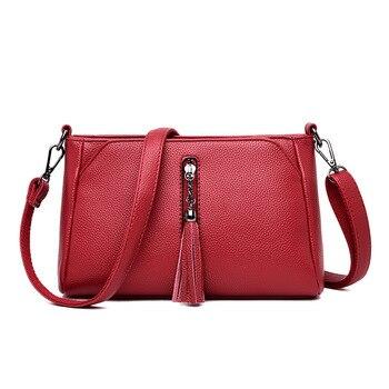 2019 neue PU Leder Geldbörse Schulter Tasche Messenger Umhängetaschen für Frauen Leder Handtaschen Quaste Damen Hand Taschen