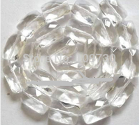 Jewelry 00241 10x15mm White Glass Quartz Oblong Faceted Beads 13