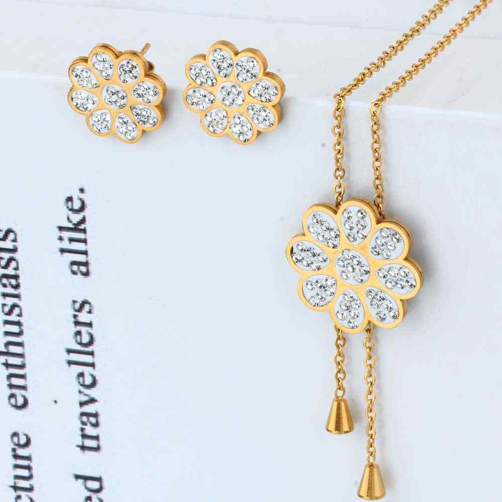 XUANHUA Wholesale Stainless Steel Flower Fashion Wedding Jewelry Sets Women Necklaces Earrings Sets Indian Jewelry Accessories