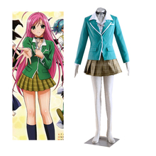 Anime Rosario and Vampire Moka Akashiya Yokai Academy Uniform Cosplay Costume Tailor Made airbag rosario