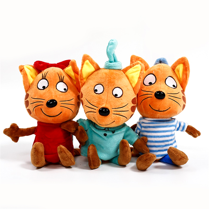 3pcs/lot The Lastest Russian Happy Three Kittens Soft Animals Cartoon Cat Plush Stuffed Toys For Kids Children Gift Doll 20cm