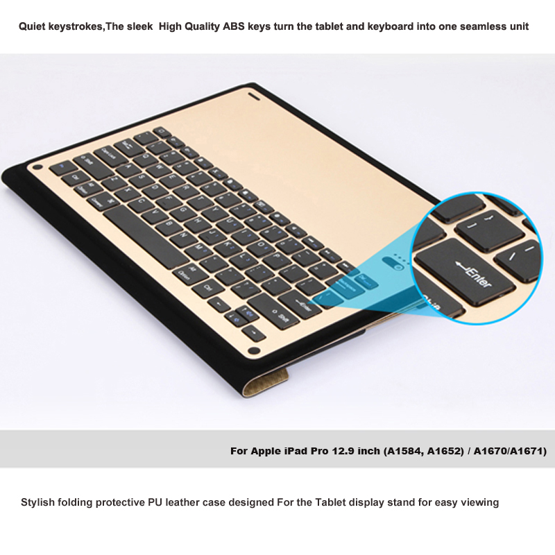witsp d All in one Bluetooth Keyboard Case for iPad Pro 12 9 quot 2017 LED Backlight wireless Metal keyboard Smart Case in Tablets amp e Books Case from Computer amp Office