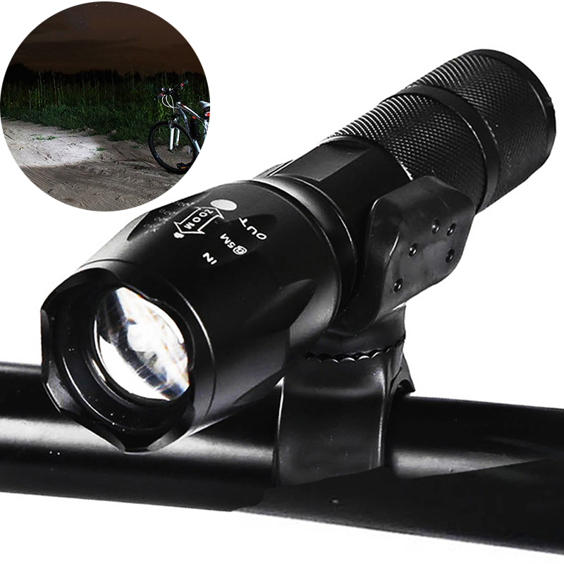 8000 Lumens Flashlight 5-Modes T6 LED Flashlight Bike Bicycle Torch Clip Holder by 1*18650 Battery or 3*AAA Battery 3 modes 1 xml t6 flashlight ultra bright torch display power rechargeable led flashlight by 1 18650 1 26650 battery
