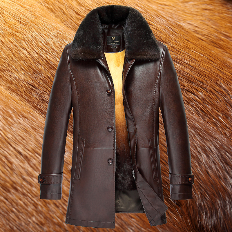 2018 Autunno Inverno pelliccia di visone collare di Cuoio Del Faux Cappotto  di Pelliccia uomini Caldo di Spessore Manica Lunga di Alta Qualità Giacca di  ... 221f7b5fd4d