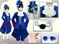 Anime Black Butler Ciel KuroShitsuji Ciel Phantomhive Cosplay Costume Whole 8/Set with Earrings