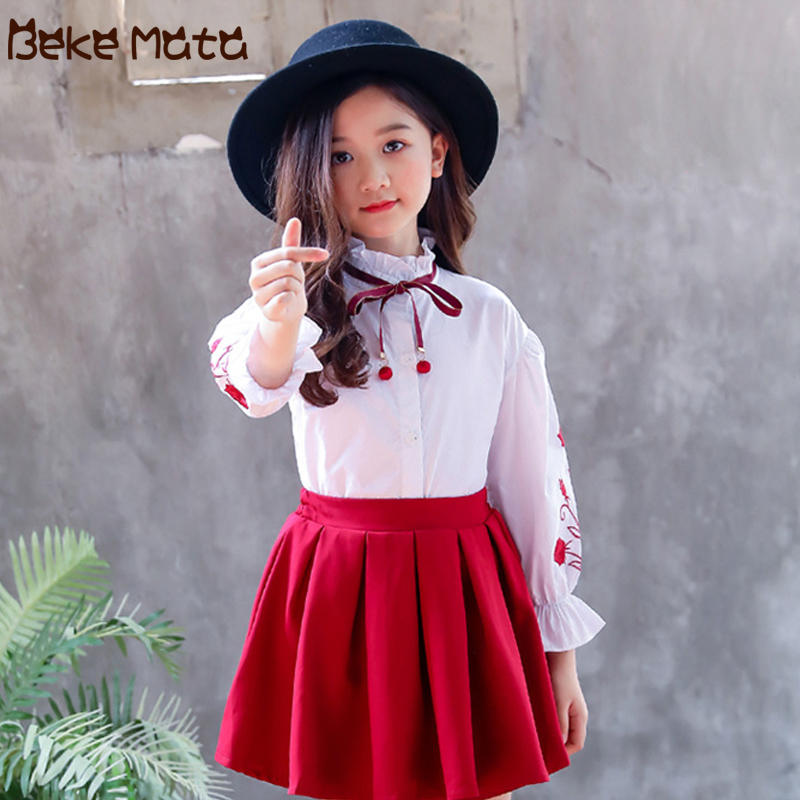 White Girl   Blouse   2019 Spring Kids   Shirt   For Girls Long Sleeve Rose Embroidery Lacing Tie School   Blouses   Girls Children Clothing