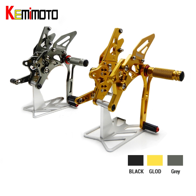 KEMiMOTO YZF-R25 YZF-R3 MT-25 MT-03 CNC Footrest Adjustable Rearset Rear Set For Yamaha YZF R25 R3 MT25 MT03 2014 2015 2016 2017 for yamaha mt25 mt03 mt 25 mt 03 2015 2016 balance shock front fork brace motorcycle accessories cnc aluminum