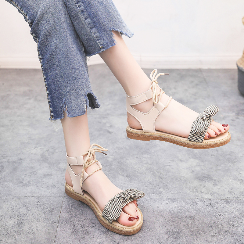 Sandals women's flat shoes bow 2019 summer new students cute fairy trend women's shoes 36
