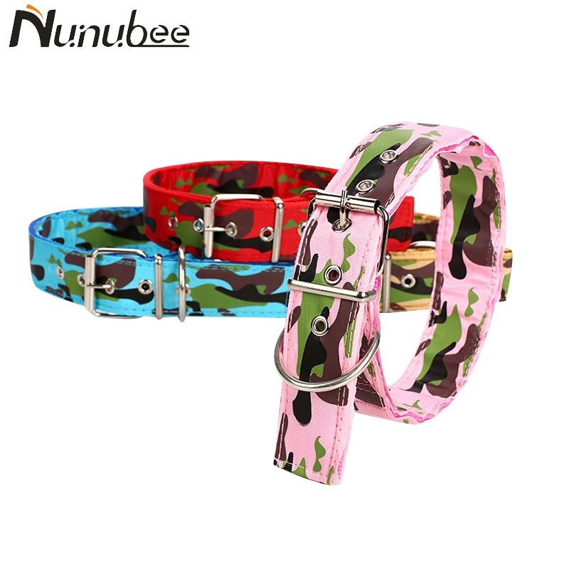Nunubee Canvas Nylon Dog Collar Army Green Double Row Adjustable Buckle Pet Collar For Medium Large Dog S M L