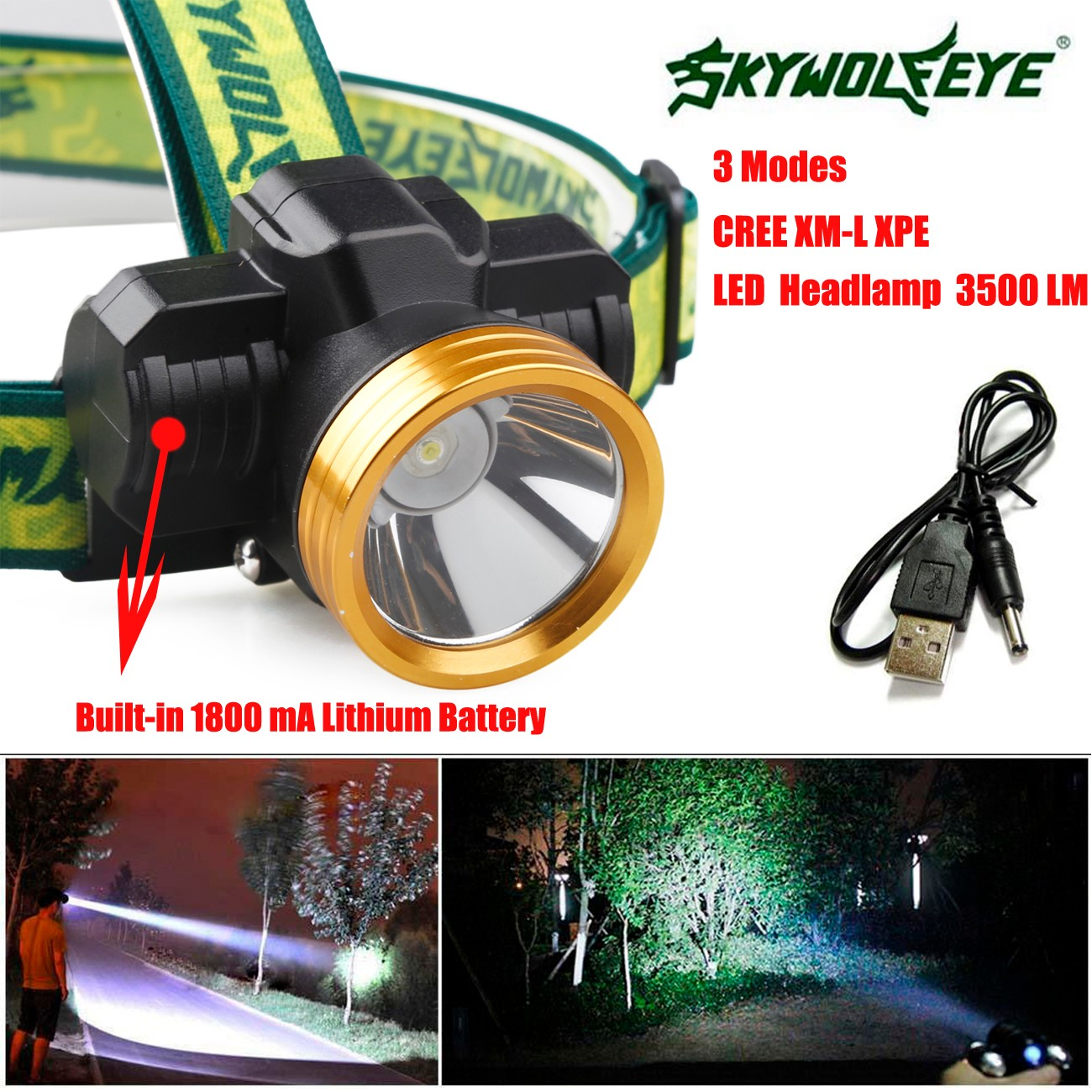 3500LM CREE XPE LED Headlamp Headlight Head Light Lamp 1800mAh Rechargeable USB