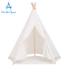 Large Kids Teepee Play Tent 100% Cotton Canvas Children Tipi Playhouse Indoor Outdoor Toy Boys Girls Baby Gift White With Mat blue grid teepee tent for kids boys tipi tent wigwam playhouse