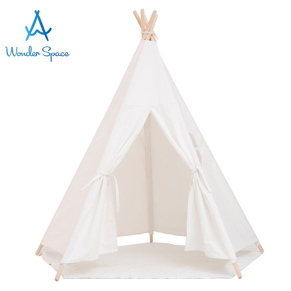 Large Kids Teepee Play Tent 100% Cotton Canvas Children Tipi Playhouse Indoor Outdoor Toy Boys Girls Baby Gift White With Mat