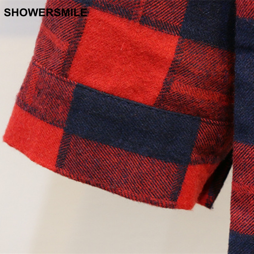 cb47a897a28946 SHOWERSMILE Red Checkered Shirt Plus Size Plaid Shirt Women England Style  Cotton Long Blouses Tops Loose 4XL Clothing-in Blouses & Shirts from Women's  ...