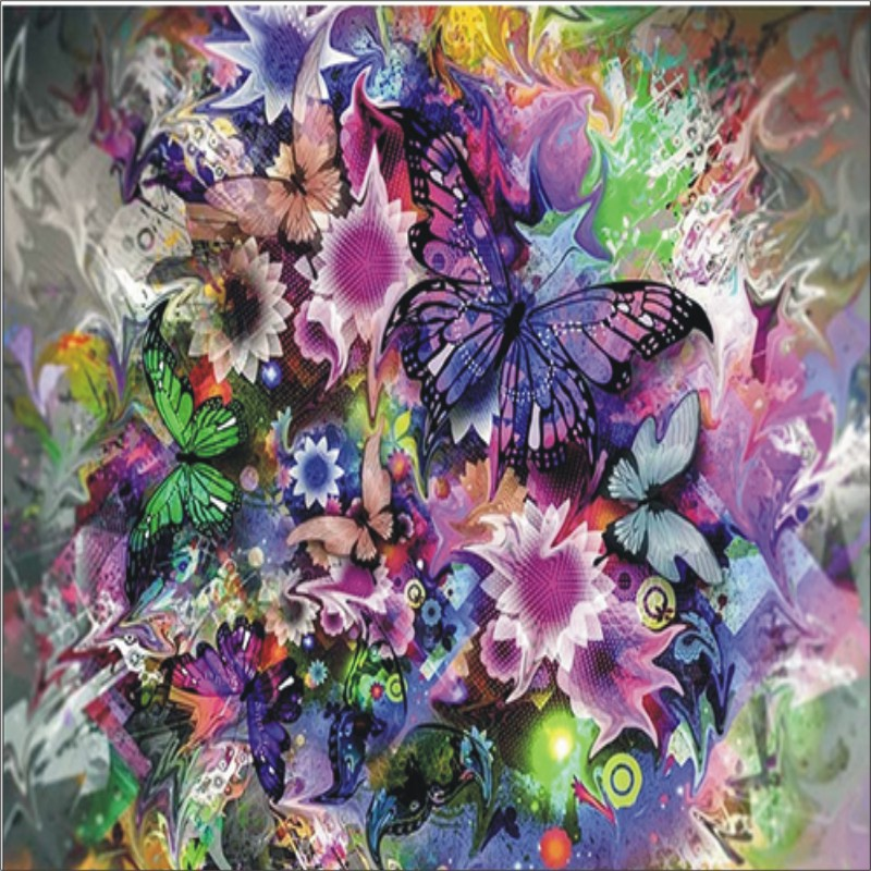 Diamond Painted Butterfly and Fower 5D DIY Diamond Embroidery Painting Home Decoration Mural T005