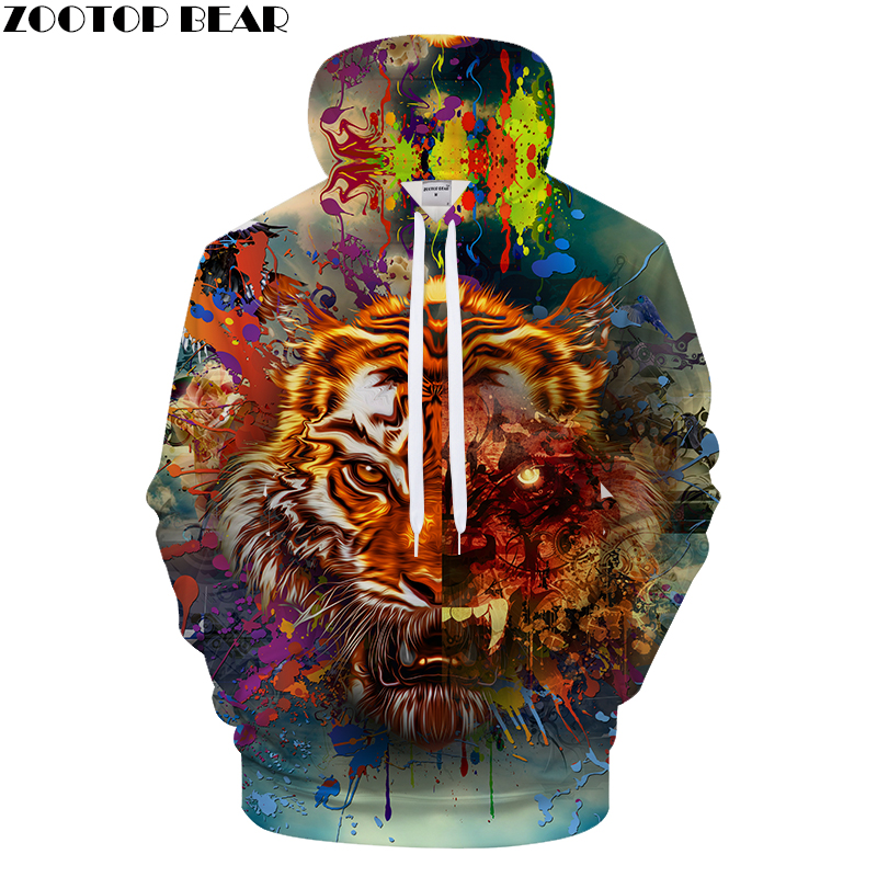 Hip hop Tiger 3D Hoodies Men Women Brand Tracksuits Pullover Harajuku Streetwear Animal Printed Hoodies Coat Hooded Drop Ship