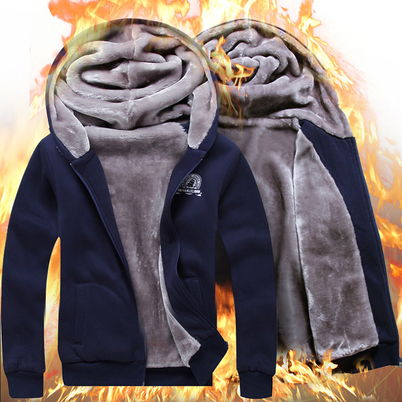 2016 Spring and Winter New Velvet Thickening Couple Hooded Zipper Spell Color Camouflage Men 's Sweater Sports Running Suit