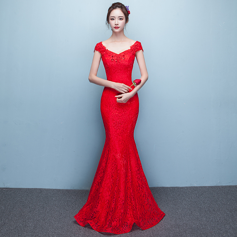 Custom Made New Trend Elegant Off Shoulder Mermaid Evening Gowns Lace Long  Evening Party Dresses V Neck 2017 frack-in Evening Dresses from Weddings    Events ... 955197b9d6ec