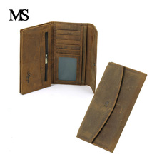 Genuine Crazy Horse Cowhide Leather Men Wallets Fashion Purse With Card Holder Vintage Long Wallet Clutch Bag Coin Purse TW1648 brand real cowhide wallet long genuine leather men wallets fashion purse with card holder vintage long wallet clutch wrist bag