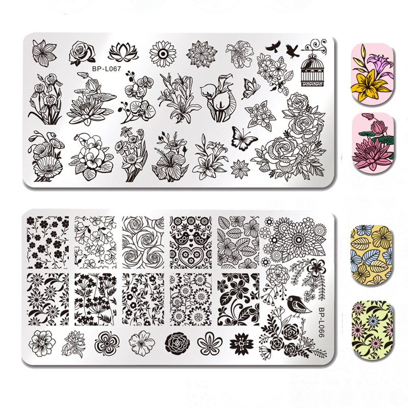 BORN PRETTY Template Stamping Plate London Style Rectangle Manicure Nail Art Image Plate BP-L058 ~ L068