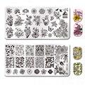 Nacido bastante plantilla Placa de estampado de Londres estilo rectángulo manicura uñas de arte Placa de imagen de BP-L058 ~ L068
