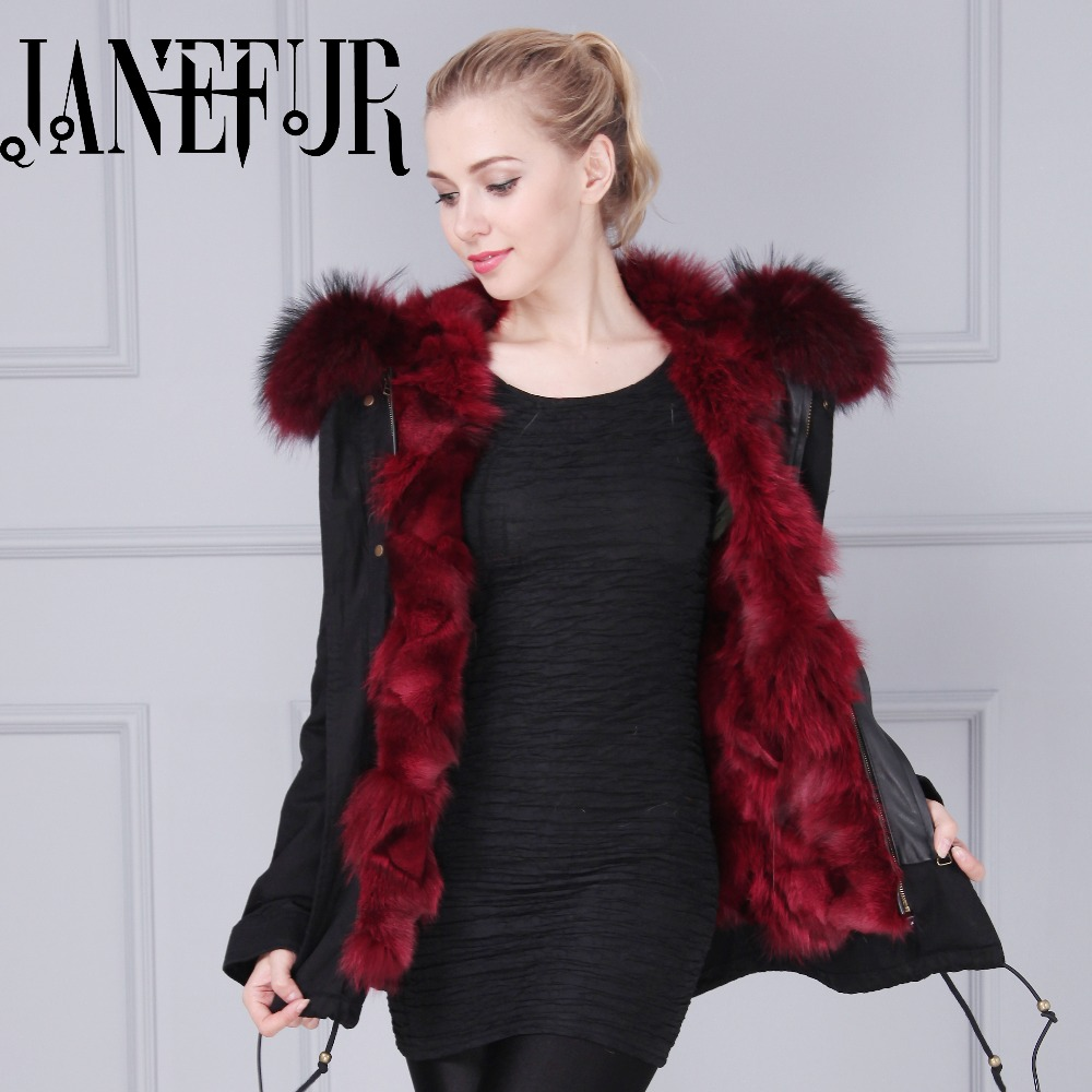 Black Parka Jacket Coat 2016 New Winter Women Jacket 100% Genuine Real Raccoon Fur Collar Hooded Fox Fur Lining Thick Coat 2017 winter new clothes to overcome the coat of women in the long reed rabbit hair fur fur coat fox raccoon fur collar