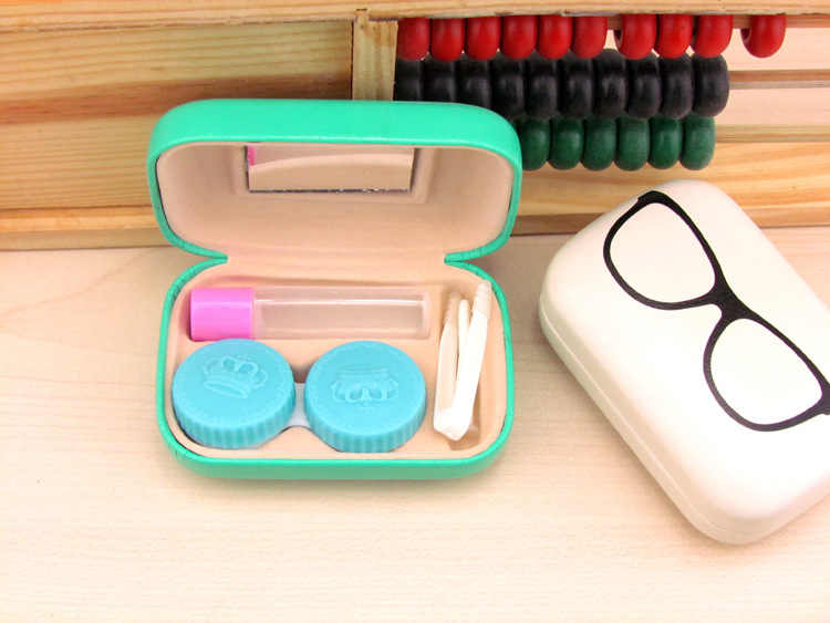 LIUSVENTINA Portable Leather Cute Frame Glasses Pattern Contact Lens Case with Mirror for Color Lenses Gift for Boys and Girls