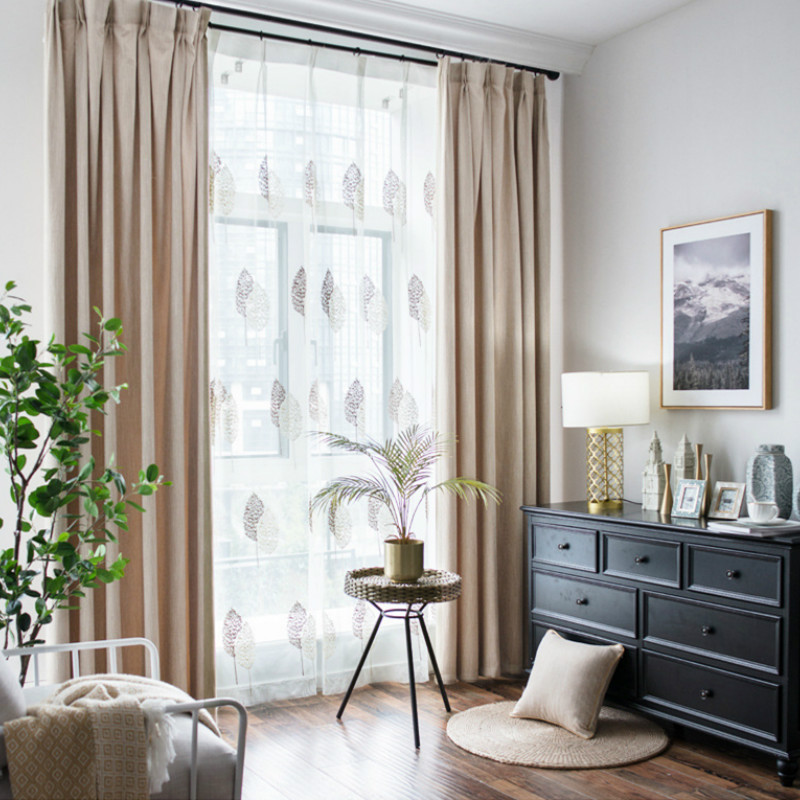 Green pink brown blackout insulated cotton thick window treatment curtains for living room bedroom thermal insulation